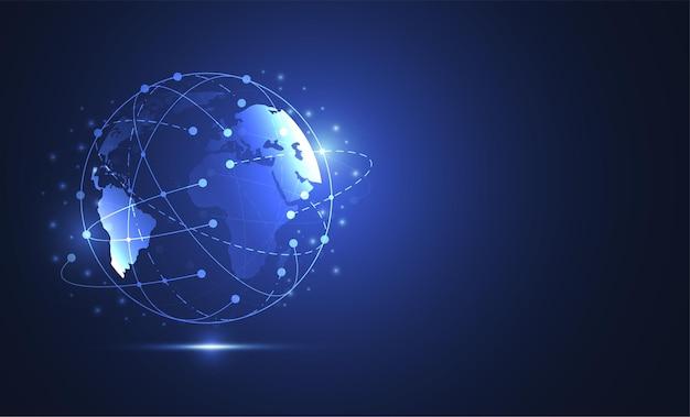 Connessione di rete globale. punto della mappa del mondo e concetto di composizione della linea del business globale