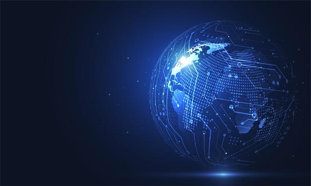 Connessione di rete globale. punto della mappa del mondo e concetto di composizione della linea del business globale.