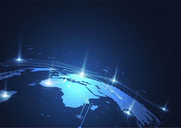 Connessione di rete globale concetto di composizione del punto e della linea della mappa del mondo