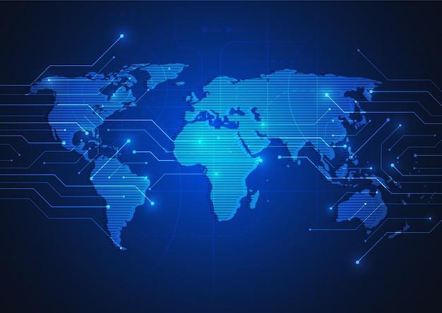 Connessione di rete globale concetto di composizione punto e linea mappa del mondo