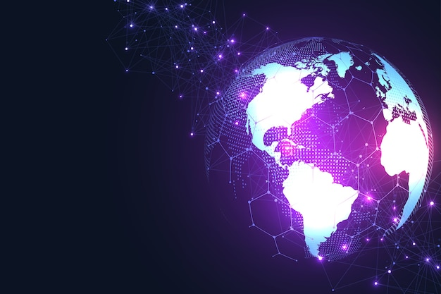 Connessione di rete globale punto sulla mappa del mondo e composizione della linea del business globale.