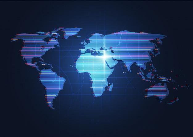 Connessione di rete globale composizione del punto e della linea della mappa del mondo