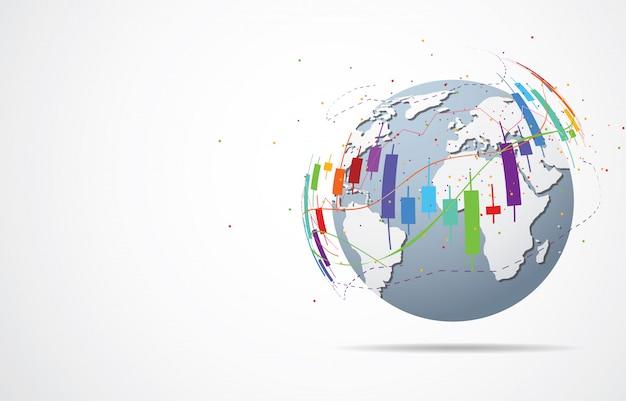 Connessione di rete globale punto mappa del mondo e composizione della linea