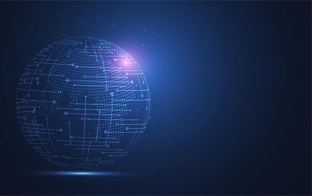 Connessione di rete globale. punto della mappa del mondo e composizione della linea