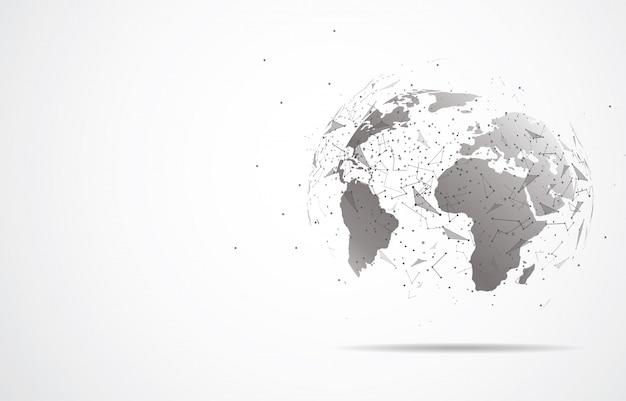 Connessione di rete globale punto e linea della mappa del mondo