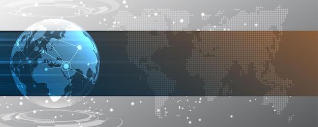 Connessione di rete globale mappa del mondo
