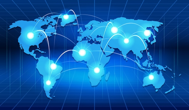 Connessione di rete globale world vector