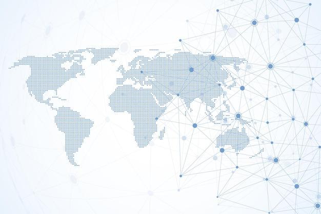 Connessioni di rete globale con mappa del mondo punteggiata. sfondo della connessione a internet. struttura di connessione astratta. fondo dello spazio poligonale. illustrazione vettoriale.