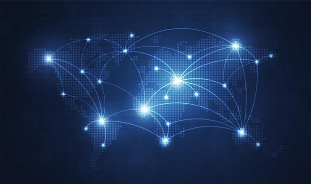 Sfondo della tecnologia di rete globale con mappa del mondo o rete internet di comunicazione sui social media
