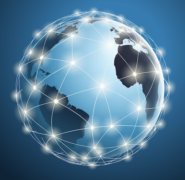 Reti globali, connessioni digitali intorno alla mappa del mondo con punti e linee luminose.