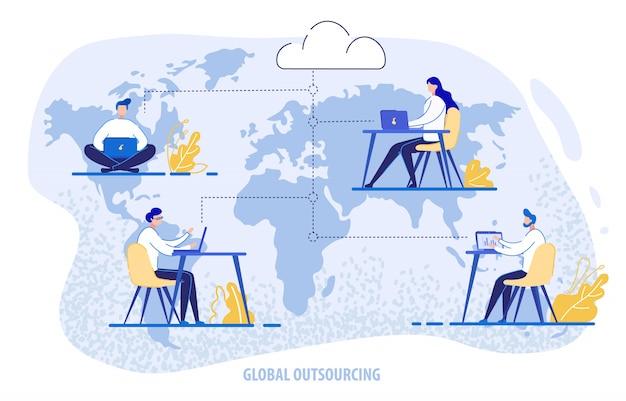 Outsourcing globale, persone che utilizzano il sistema cloud