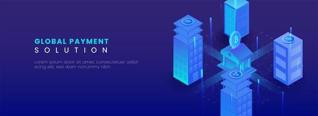 Il concetto di soluzione di pagamento globale con illustrazione 3d di edifici di criptovalute si collega alla banca su sfondo blu.