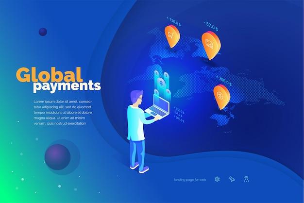Pagamenti globali un uomo con un laptop esegue transazioni finanziarie in tutto il mondo