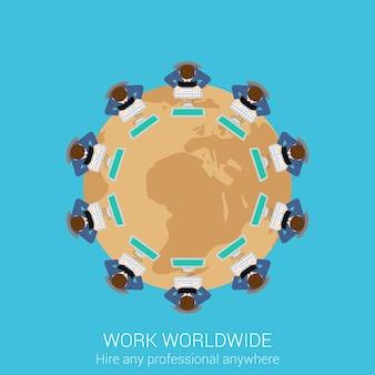 Concetto di vista superiore del lavoro aziendale remoto globale. la gente che si siede al tavolo di riunione rotondo con l'illustrazione di vettore della mappa di mondo.