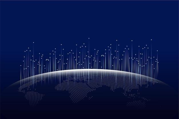 Social network globale, vettore di sfondo abstrack con sfondo futuristico blu