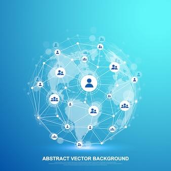 Concetto di rete globale e connessione dati. comunicazione sui social network nelle reti informatiche globali. tecnologia internet. attività commerciale. scienza. illustrazione.