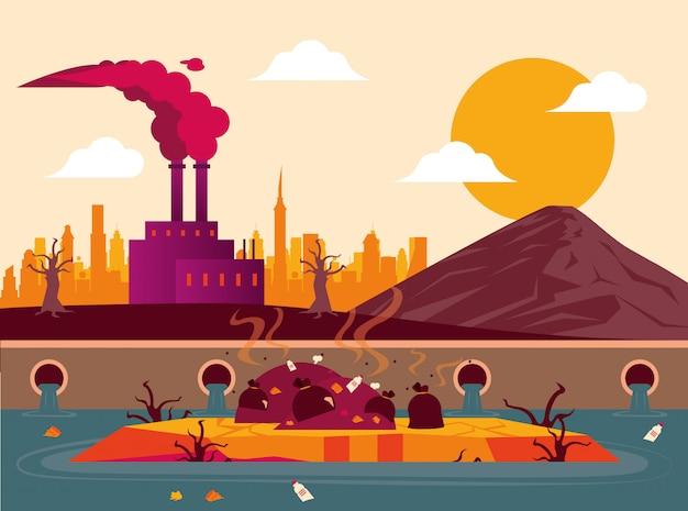 Avviso di riscaldamento globale con fabbrica inquinante