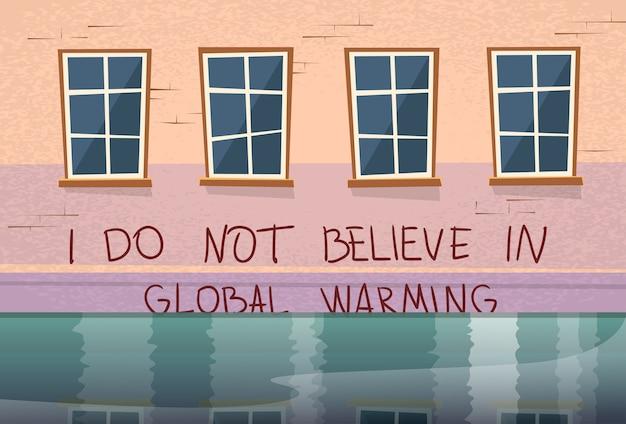 Inondazione di finestra di concetto di riscaldamento globale casa sotto l'acqua