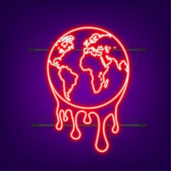 Il riscaldamento globale, illustrazione grafica di una terra che si scioglie. icona al neon.