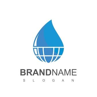 Modello di progettazione del logo dell'acqua globale