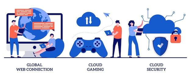 Connessione web globale, cloud gaming e illustrazione di sicurezza con persone minuscole