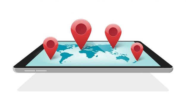 Tecnologia digitale della mappa del mondo globale con indicatori di puntatore a spillo per viaggi o illustrazione 3d di logistica mobile in tutto il mondo