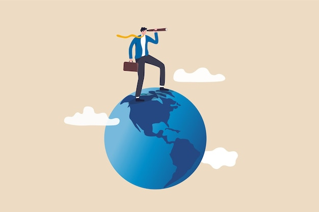 Globalizzazione, visione aziendale globale, economia mondiale o concetto di opportunità di business, uomo d'affari intelligente in piedi sul globo, pianeta terra usando il telescopio per vedere la visione o opportunità future.