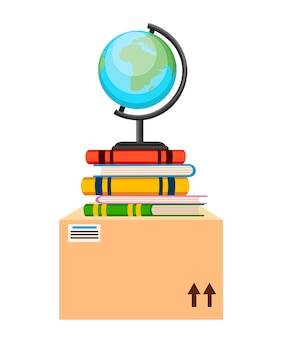 Globo, libri e scatola di cartone. . illustrazione su sfondo bianco