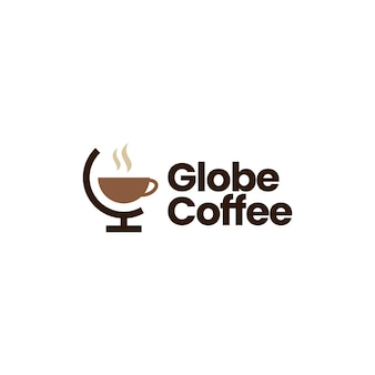 Modello di logo del caffè del globo