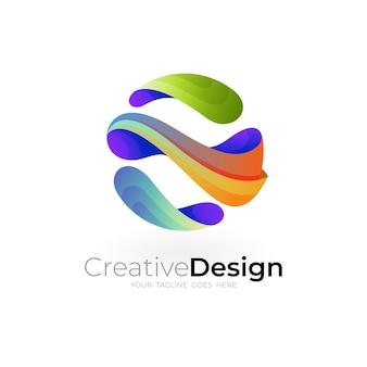Icone del globo, logo della terra con design colorato 3d