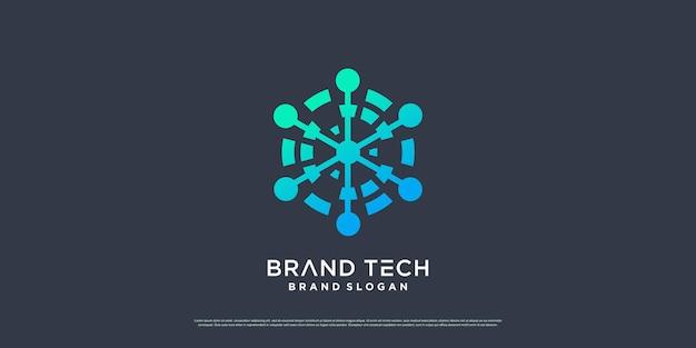 Design del logo del globo con il concetto di tecnologia moderna vettore premium parte 4