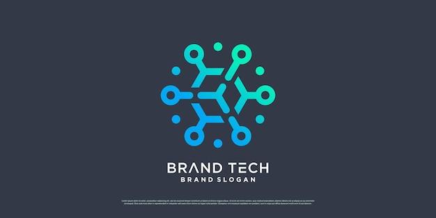 Design del logo del globo con il concetto di tecnologia moderna vettore premium parte 5
