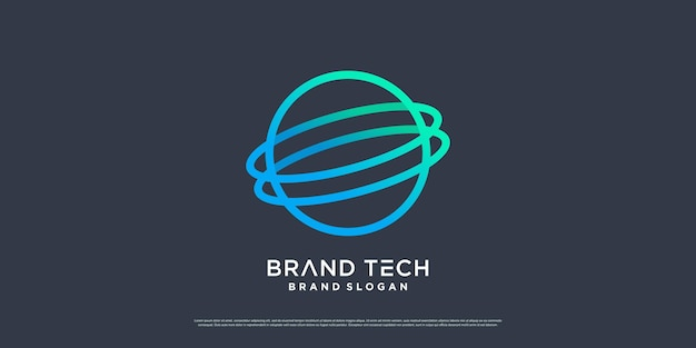 Design del logo del globo con il concetto di tecnologia moderna vettore premium parte 6