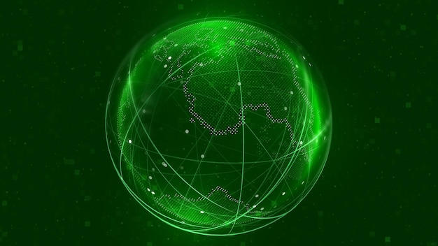 Illustrazione della rete del globo globo digitale 3d di tecnologia sfondo della mappa della terra digitale