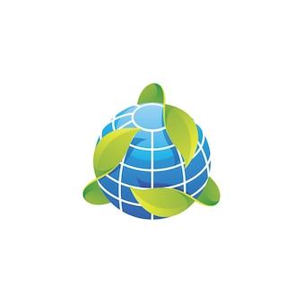 Globo pianeta con foglie verdi logo