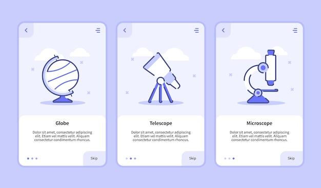 Schermo di introduzione al microscopio del telescopio a globo per app mobili