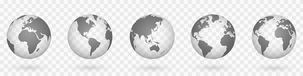 Globes of earth 3d set. mappa del mondo realistico a forma di globo. mappe del mondo realistiche con ombra