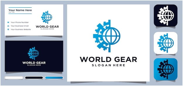 Globi e ingranaggi icona vettore world tech logo design logo design template