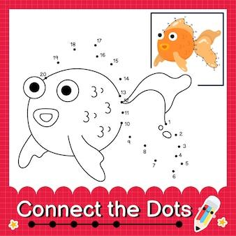 Puzzle per bambini glodfish collega il foglio di lavoro con i punti per i bambini che contano i numeri da 1 a 20