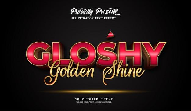 Effetto stile testo gloshy golden shine. effetto di testo modificabile