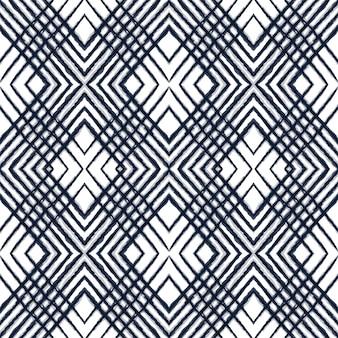 Reticolo senza giunte di vettore lucido tie dye. trama navajo tribale grafica cremisi. disegno disegnato striscia di cobalto. ornamento uzbeko ripetuto a strisce oceaniche. stampa bohémien giapponese
