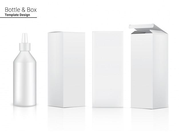 Cosmetico realistico della bottiglia lucida e scatola tridimensionale per cura della pelle antirughe e antinvecchiamento o merce dell'alimento sull'illustrazione bianca del fondo. assistenza sanitaria e medica.
