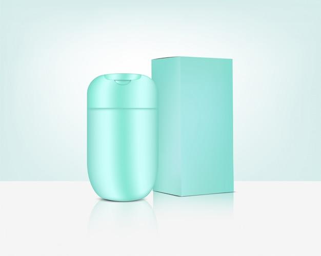Cosmetico realistico della bottiglia lucida per l'illustrazione della merce antirughe di sbiancamento della cura della pelle e di invecchiamento. assistenza sanitaria e medica.