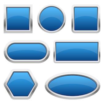 Illustrazione lucida di progettazione stabilita dei bottoni isolata su fondo bianco