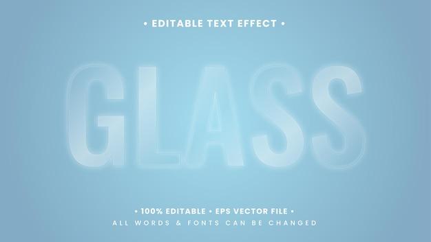 Effetto di stile di testo 3d in vetro trasparente lucido. stile di testo dell'illustratore modificabile.