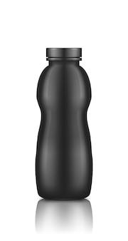 Bottiglia di yogurt in plastica scura lucida con tappo a vite mockup isolato su sfondo bianco