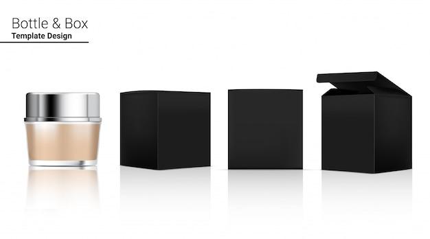 Vaso lucido bottiglia cosmetica realistica e scatola tridimensionale per lo sbiancamento della cura della pelle e l'invecchiamento della merce antirughe