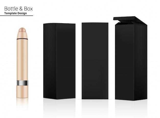 Rossetto lucido tubo o fondotinta cosmetico realistico e scatola tridimensionale per articoli per la cura della pelle