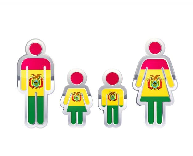 Icona lucida del distintivo del metallo nelle forme dell'uomo, della donna e dei bambini con la bandiera della bolivia, elemento infographic su bianco