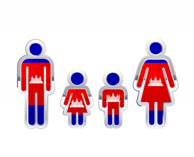 Icona lucida del distintivo del metallo nelle forme dell'uomo, della donna e dei bambini con la bandiera della cambogia, elemento infographic su bianco